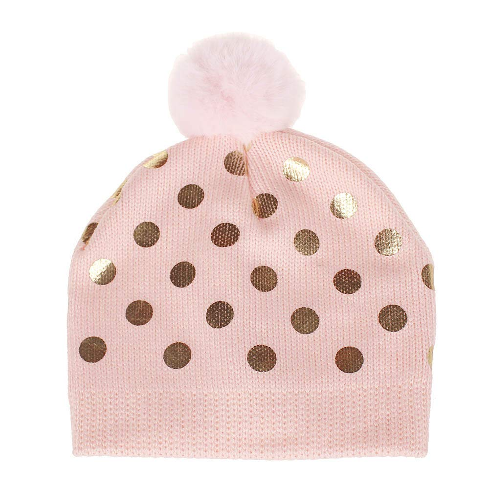 Amyline Baby Girls Golden Dots Knitted Woolen Headgear Warm Beanie Hat Cap