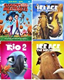 Kids Cartoon Movie pack Rio / Ice Age / Cloudy with A chance of Meatballs Blu Ray bundle Animated Collection 4 Kids Features Meltdown / Dawn of the Dinosaurs