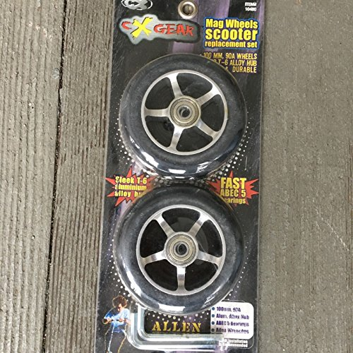scooter Wheels Replacement Set 100mm 90A Wheels Black Liquid Metal by scooter