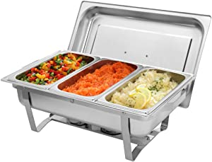 SSLine 8 Quart Stainless Steel Buffet Chafer, 3 Small Chafing Dishes in 1 Warming Tray with Water Pan/Lid/Fuel Holders, Party Wedding Banquet Chafing Food Warmer Pan Set