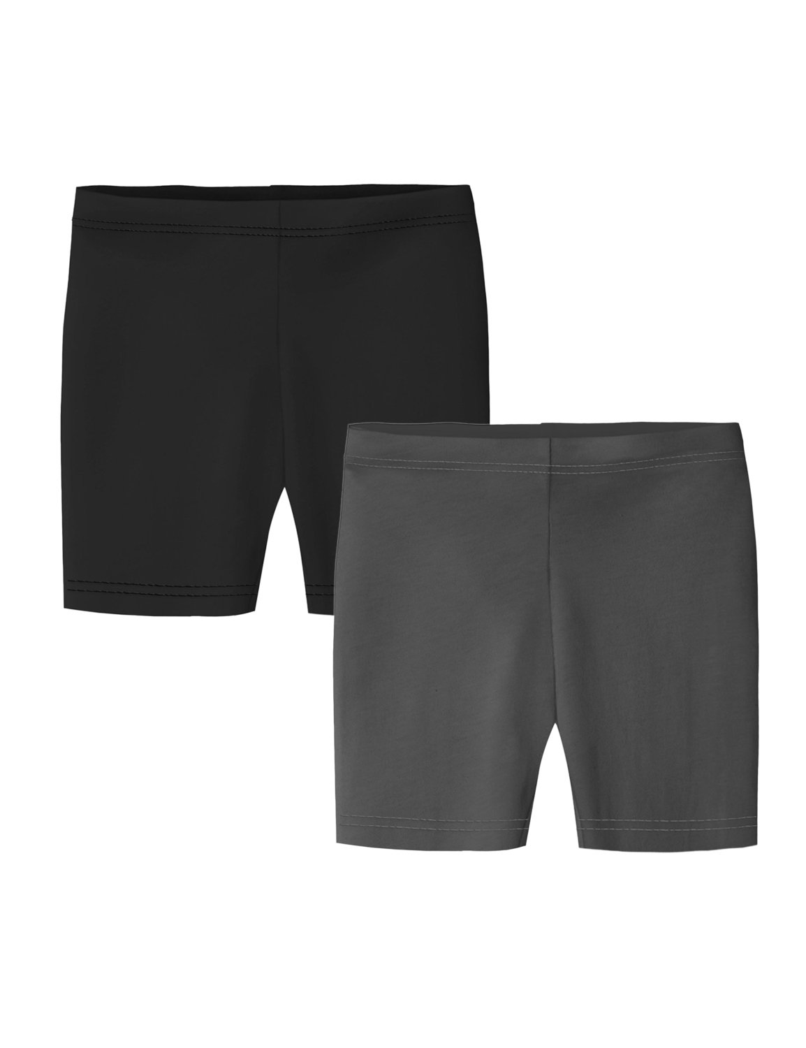 Clementine Apparel Big Girls' Bike Shorts 2 Pack, Black/Dark Gray, 14