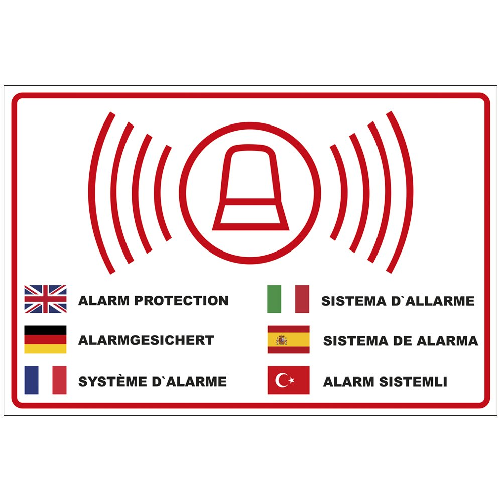 'Plaque 'alarme sécurisé en plusieurs langues Plaque de mousse rigide en PVC 300x 200mm–3mm d'épaisseur geschenke-fabrik