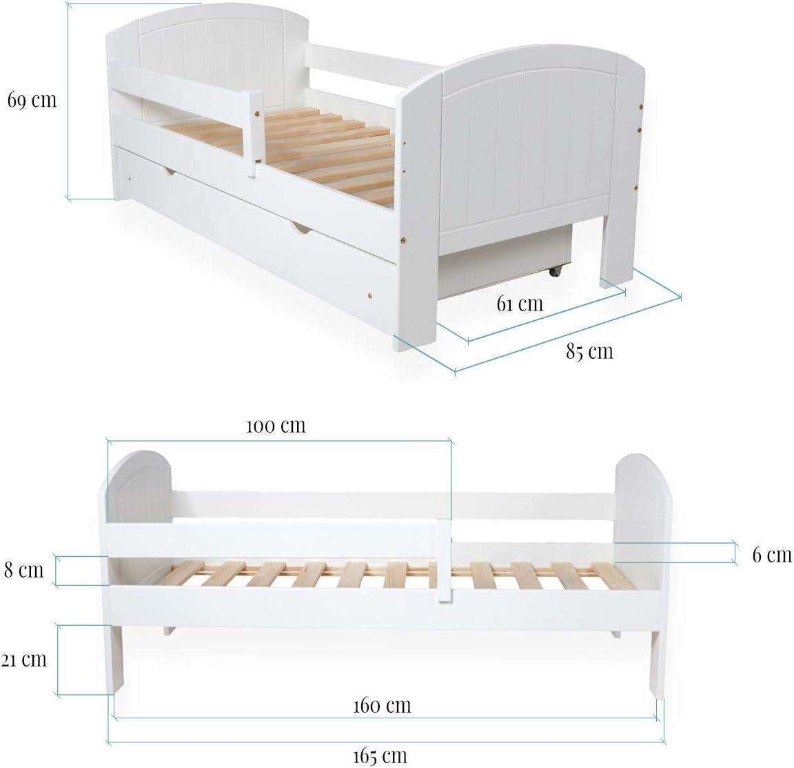 Kiefer Massiv Bett f/ür Kinder Schublade und Rausfallschutz Kinderbett Jugendbett Wei/ß aus Holz f/ür M/ädchen und Junge Toucan 160 x 80 cm