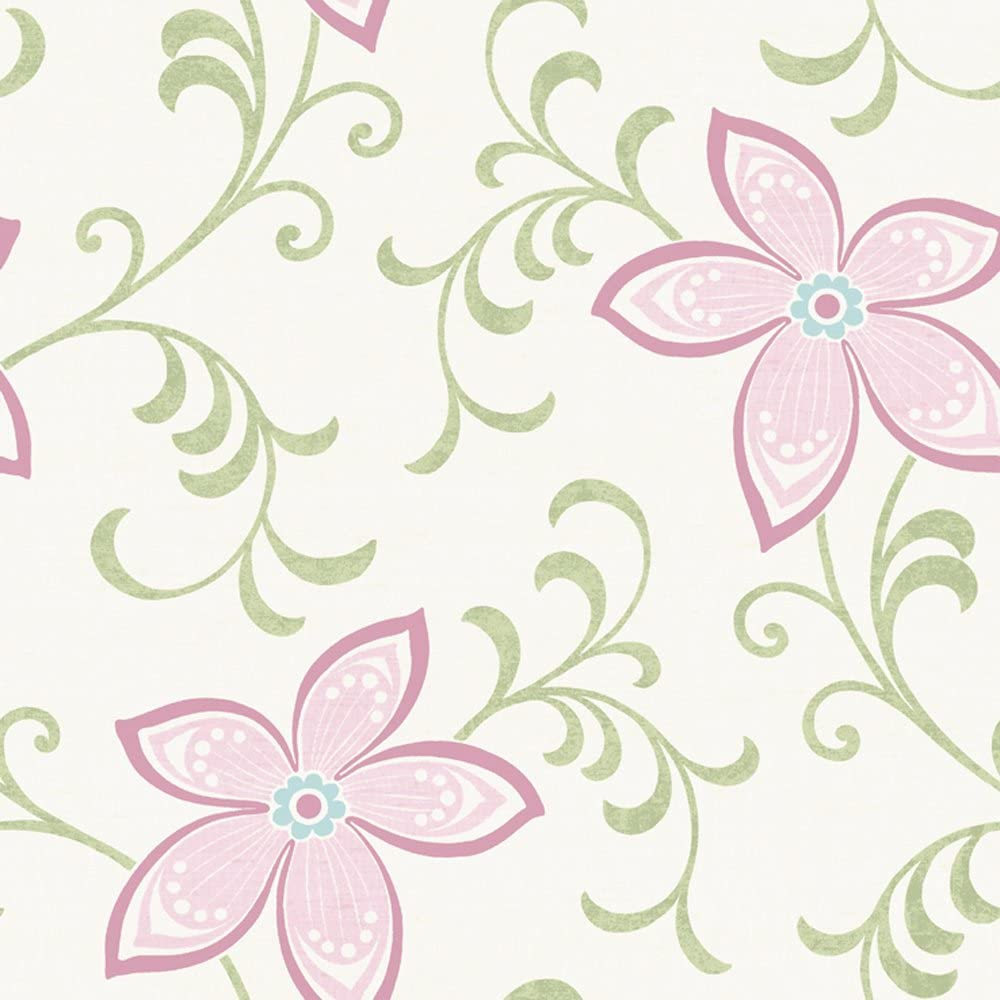Chesapeake Chr11637 Khloe Pink Girly Floral Scroll Wallpaper