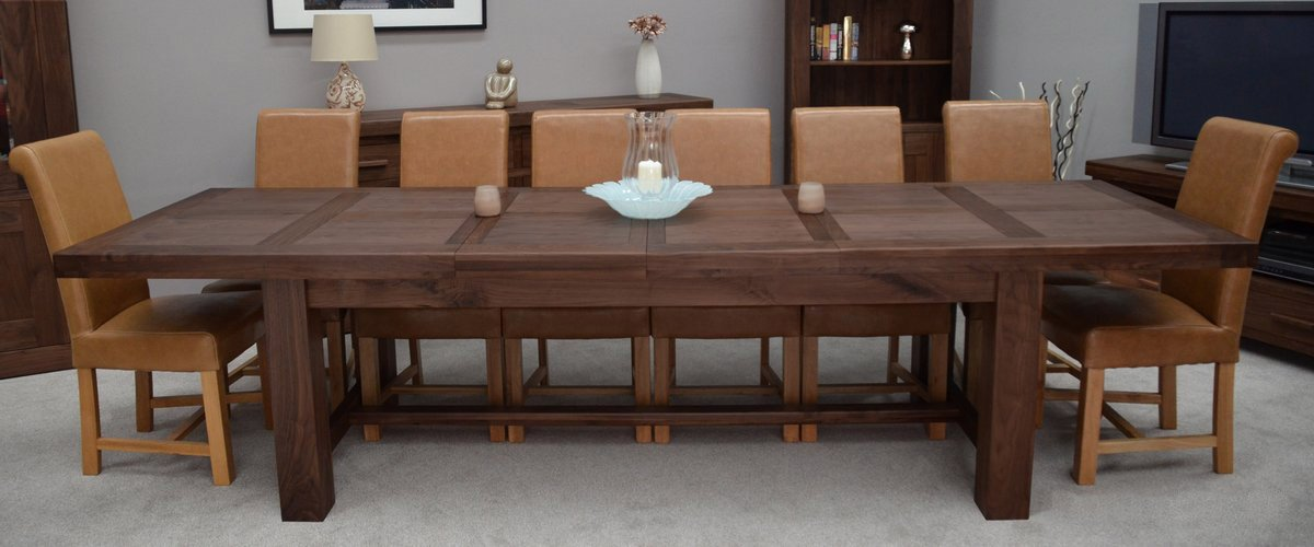 Homestyle GB Walnut Furniture Grand Extending Dining Table, Size: H 78cm, W  100cm, L 220cm, Extending To 270cm Or 320cm: Amazon.co.uk: Kitchen U0026 Home