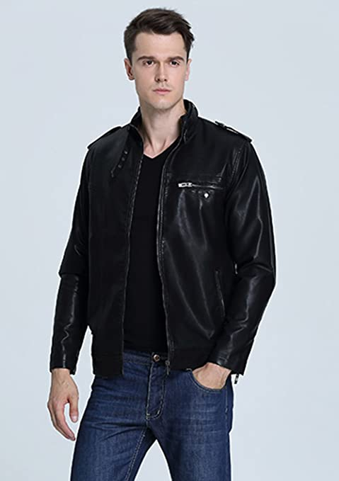 Liengoron Mens Stand Collar Long Sleeve Moto Biker Faux Leather Jacket Outerwear