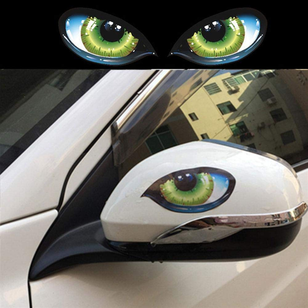 Amazon com umiwe 3d car stickers horror cat eyes car bumper sticker personalized car reflective decal stickers cool motorcycle sticker sports outdoors