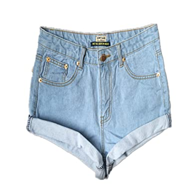 5aafe1f290 Lingswallow Women's Fashion Retro Slim Roll Cuffed Mini Denim Jean Shorts  Blue at Amazon Women's Clothing store: