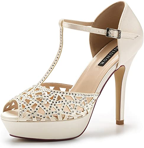 High Heel Christmas Party Shoes Ladies Platform Ankle Strap Diamante Courts size