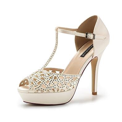 5021348ef386 ERIJUNOR E2211 High Heel Platform Sandals for Woman Rhinestones T-bar  Sandals Sparkling Dress Sandals