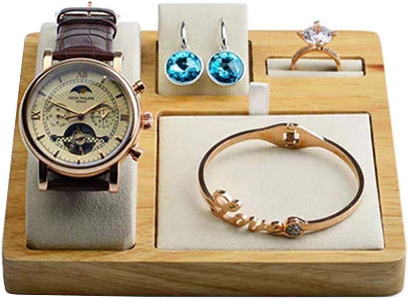 CHQY Estante de joyería, collar de madera, conjunto de almacenamiento de pendientes de pulsera, ventana comercial/exposición/tienda de joyas, accesorios de almacenamiento para niña, color beige