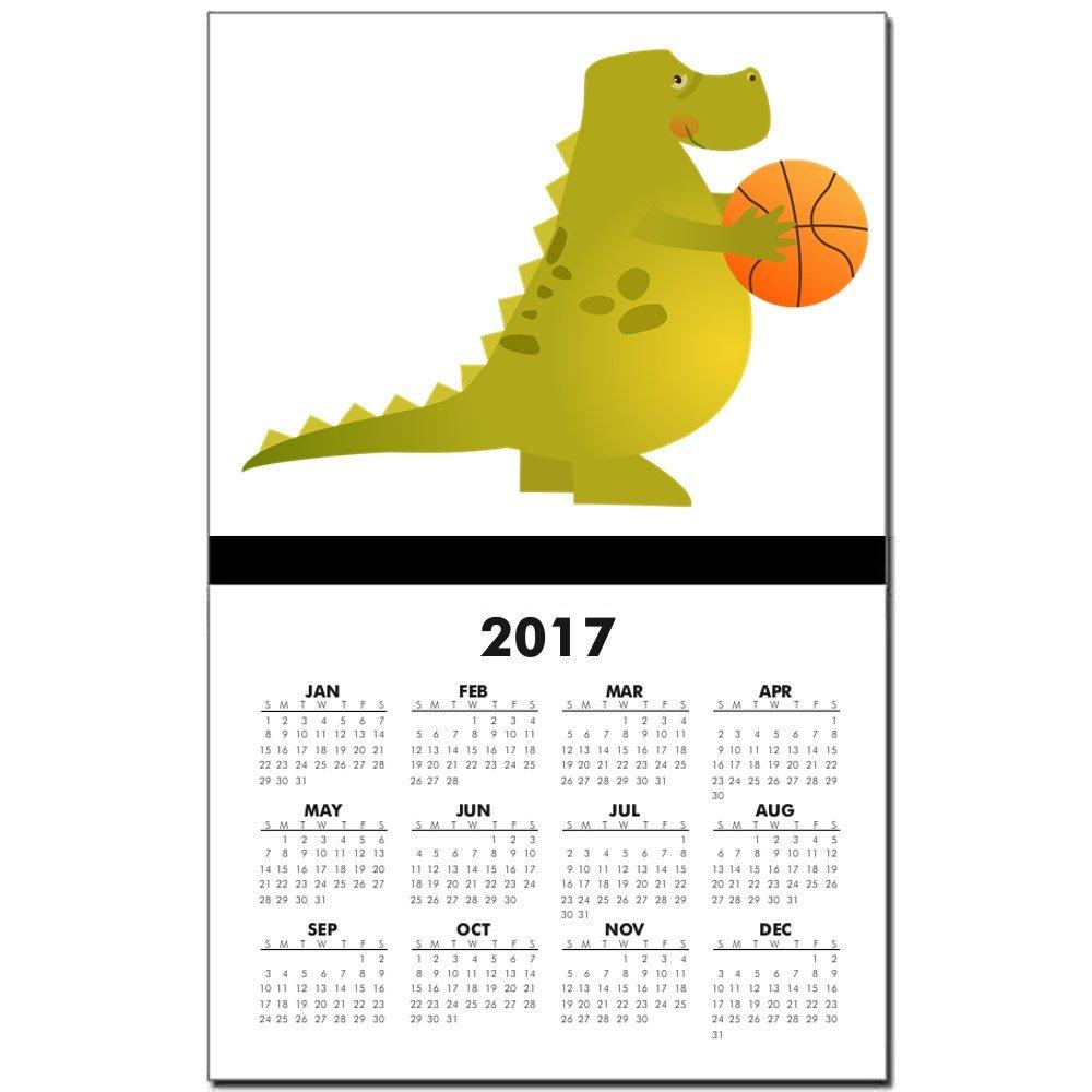 Calendario impresión w año en curso de baloncesto jugar dinosaurio ...