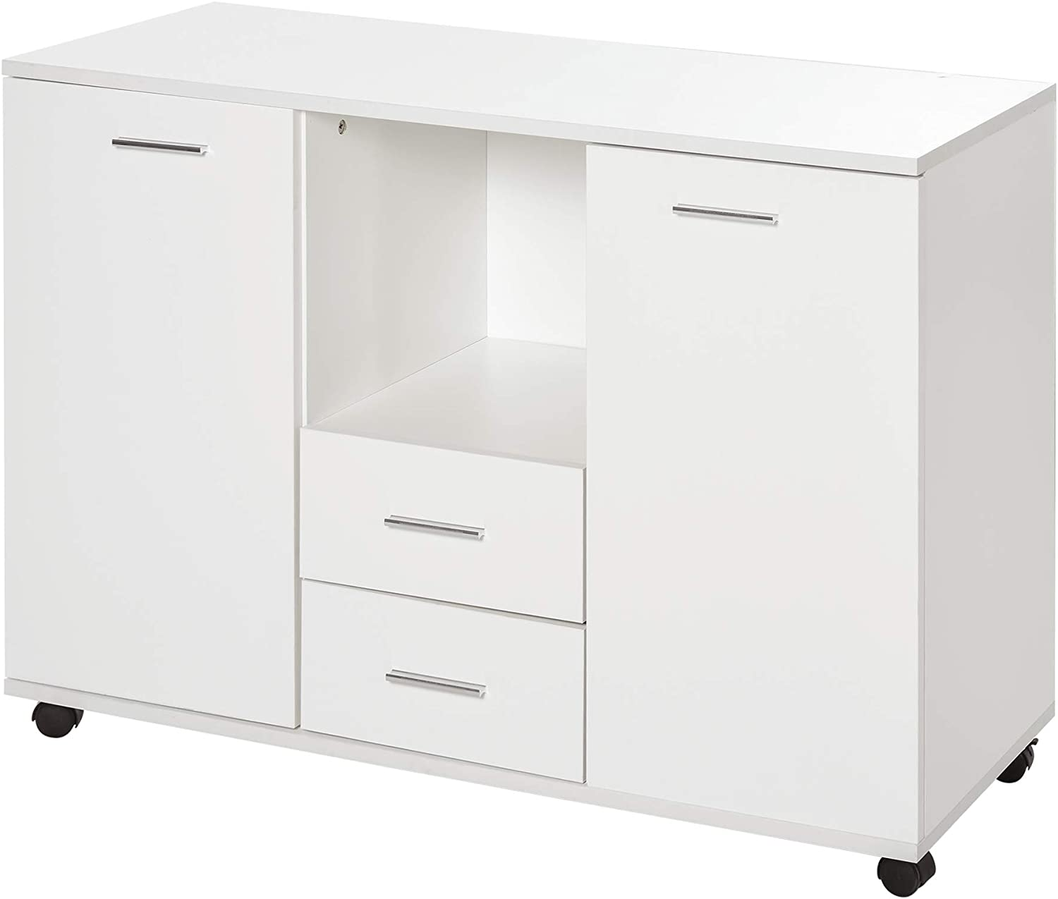 Vinsetto Multifunction Office Filing Cabinet Printer Stand with 2 Drawers, 2 Shelves, Smooth Counter Surface, White