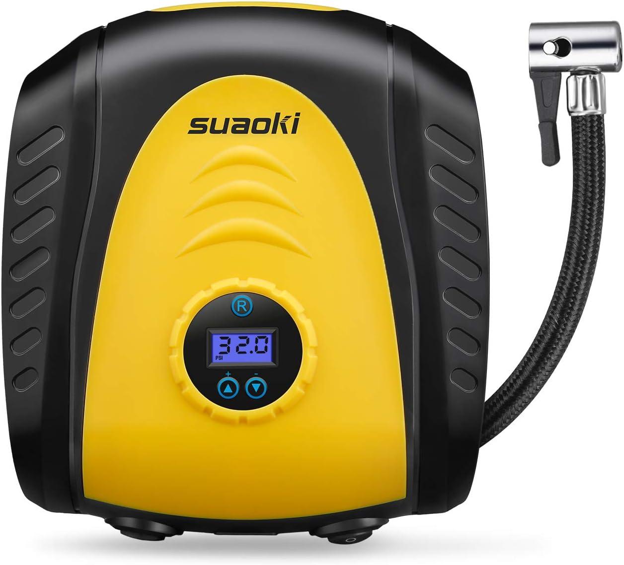 SUAOKI Compresor de Aire Digital Portátil 150PSI, 12V Inflador de neumáticos, Presión Apagado automático, medición de presión, 3 Boquilla y adaptadores Multiusos y Pantalla LED Digital: Amazon.es: Coche y moto