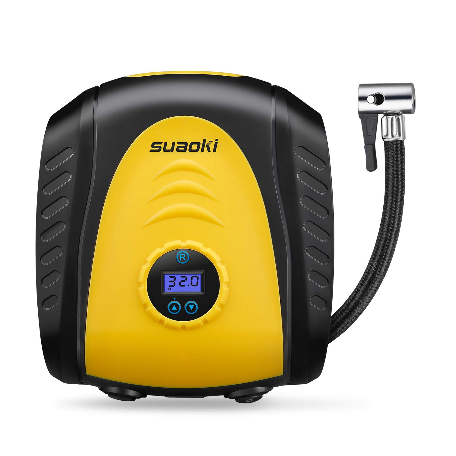 SUAOKI Portable Air Compressor Pump 150PSI Pressure Auto Shut Down Tire Inflator 12V 3m Long Range Cable 3 Multi-Purpose Nozzle Adapters and Digital LED Display for Car Bicycle Motorcycle Football