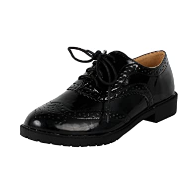 GD61 Women's Lace Up Low Chunky Heel Casual Oxford Shoes Color:BLACK Size:5.5