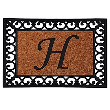 Home & More 180041925H Inserted Doormat, 19  X 25  x 0.60 , Monogrammed Letter H, Natural/Black