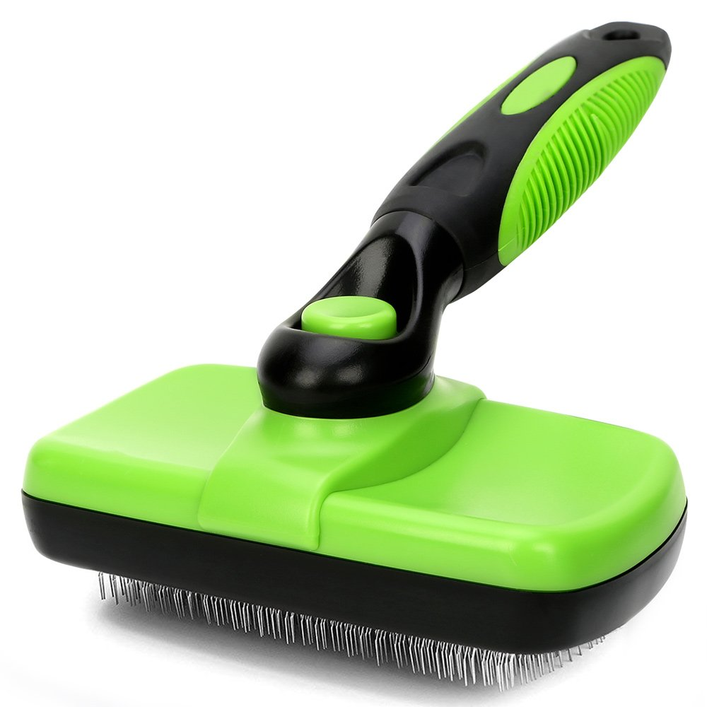 Self Cleaning Slicker Brush - Dog Brush - Efficient Dog Grooming Brush for Shedding - Gently Removes Tangles, Knots, Dander and Trapped Dirt - Perfect for Cats and Dogs with Medium Long Hair
