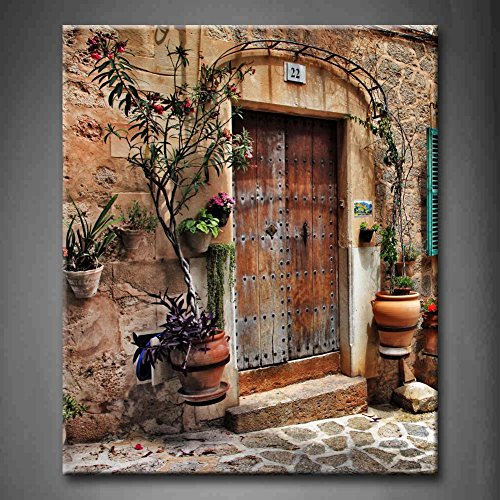 First Wall Art - Streets Of Old Mediterranean Towns Flower Door Windows Wall Art Painting The Picture Print On Canvas Architecture Pictures For Home Decor Decoration Gift (Stretched By Wooden Frame,Ready To Hang) - Tuscany Oil Painting