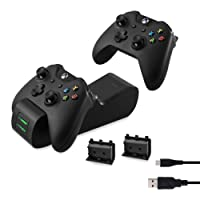 kwmobile base ricarica Xbox One/One S - ricaricare fino 2 controller per Xbox One caricatore Joystick con 2 batterie incluse - Charging Station LED