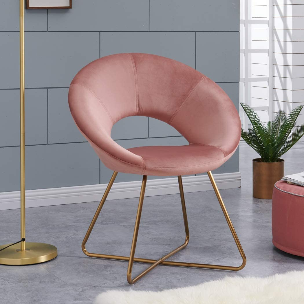 Duhome Modern Velvet Accent Chairs Upholstered Vanity Chairs Make-up Stool Home Office Guest Reception Chair Arm Leisure Chairs Dining Chair with Golden Legs Mid-Back for Living Room 1 pcs Pink