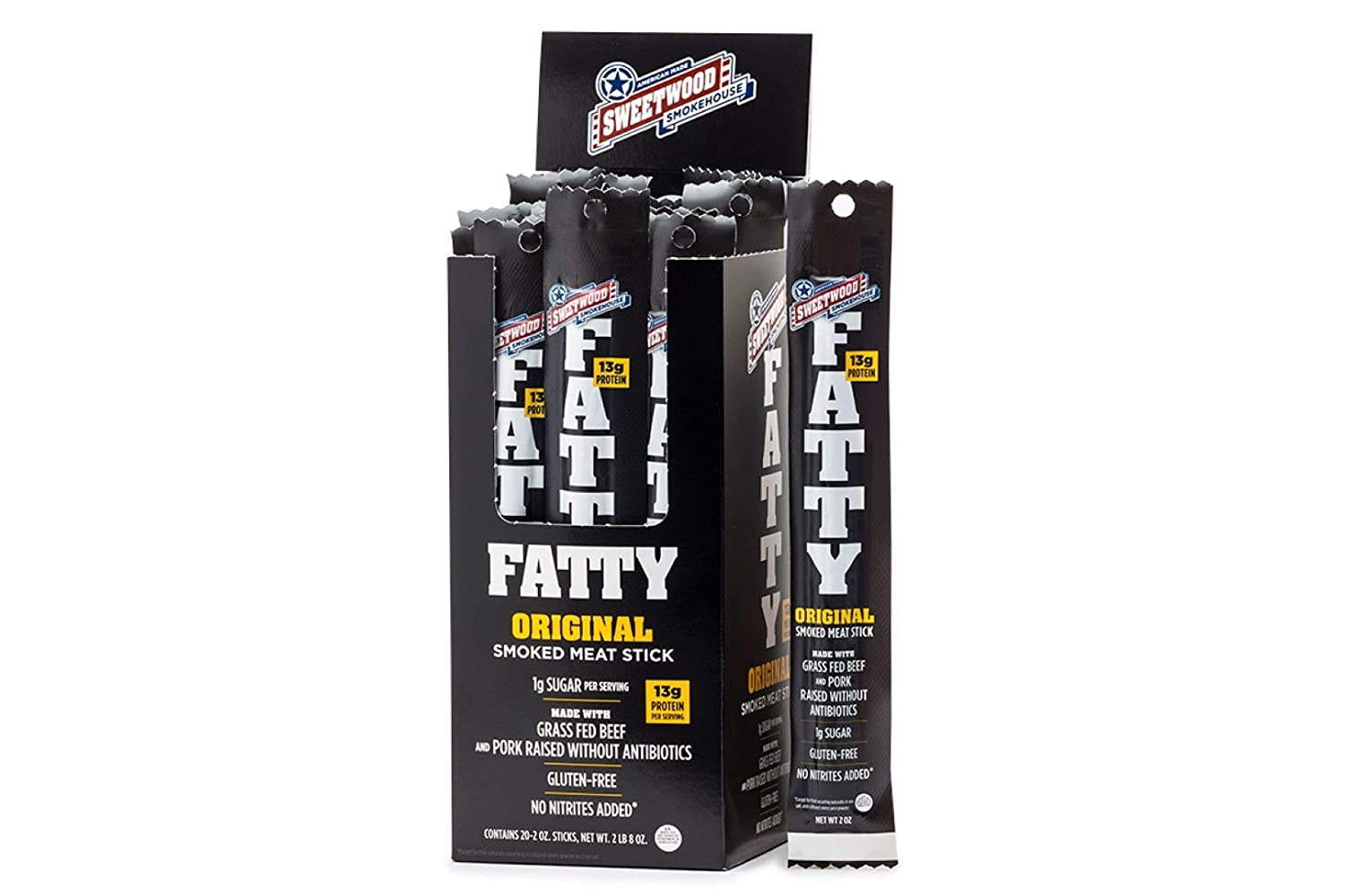 Sweetwood Smokehouse Fatty Meat Stick | Original Flavor | 20 Pack | 2 oz Sticks | USA Grass Fed Beef, Antibiotic Free Pork | Keto, Gluten Free, Slow Smoked Meat Snack | No Nitrites or Added MSG