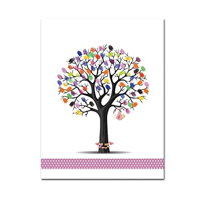 Amazon.com: Mesno Diy Wedding Guest Book Fingerprint Tree Guestbook ...