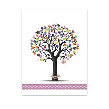 Amazon Mesno Diy Wedding Guest Book Fingerprint Tree Guestbook