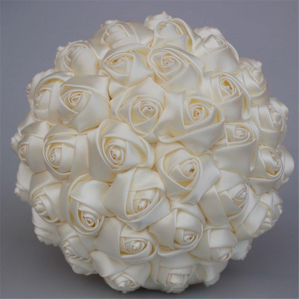 Ivory USIX Handcraft Solid Color Popular Satin Rose Bridal Holding Wedding Bouquet Wedding Flower Arrangements Bridesmaid Bouquet