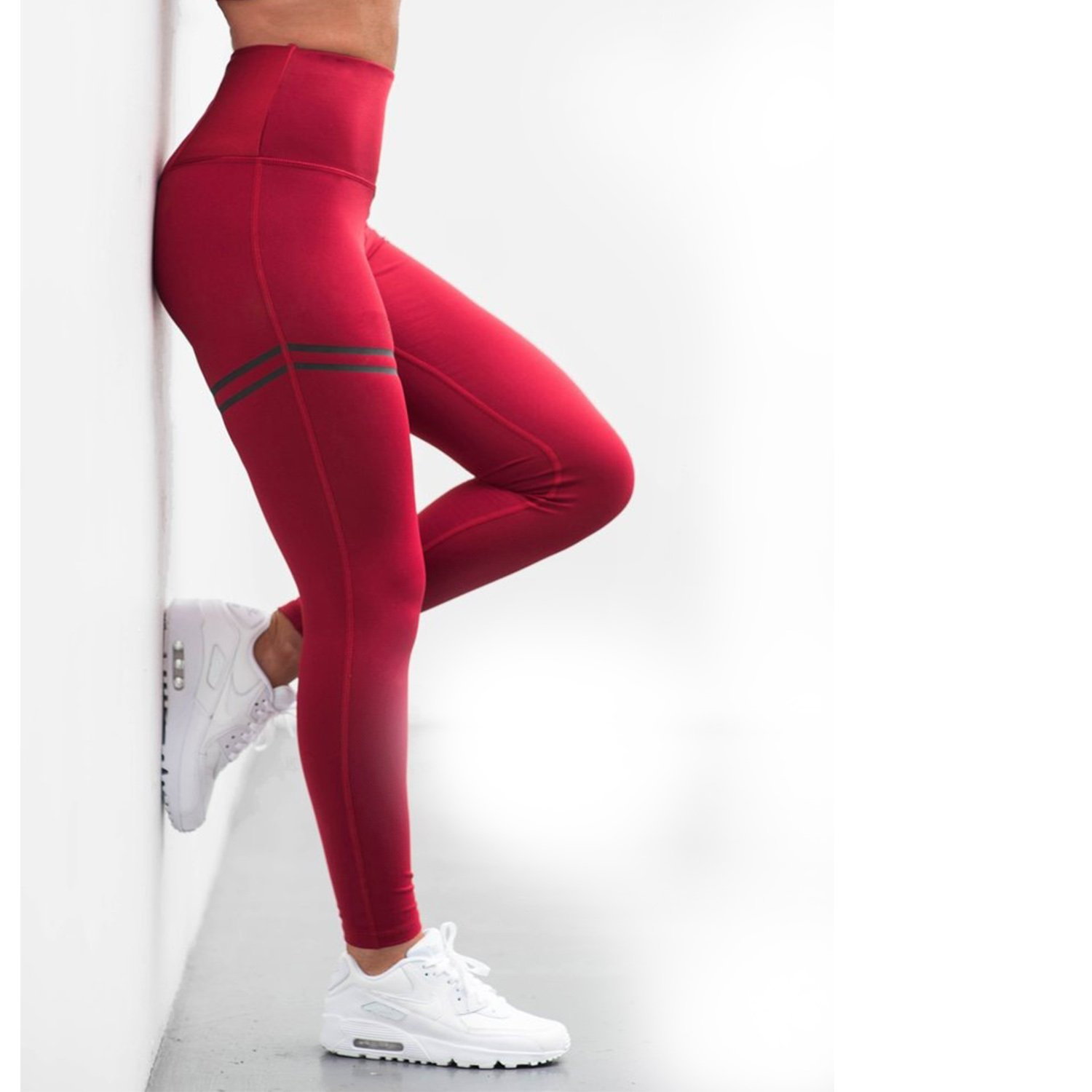 00f0e7a83ccdd8 COLO Womens New Technology Silky Yoga Pants Workout Leggings Running Tights  - Like The Second Skin Red(L)