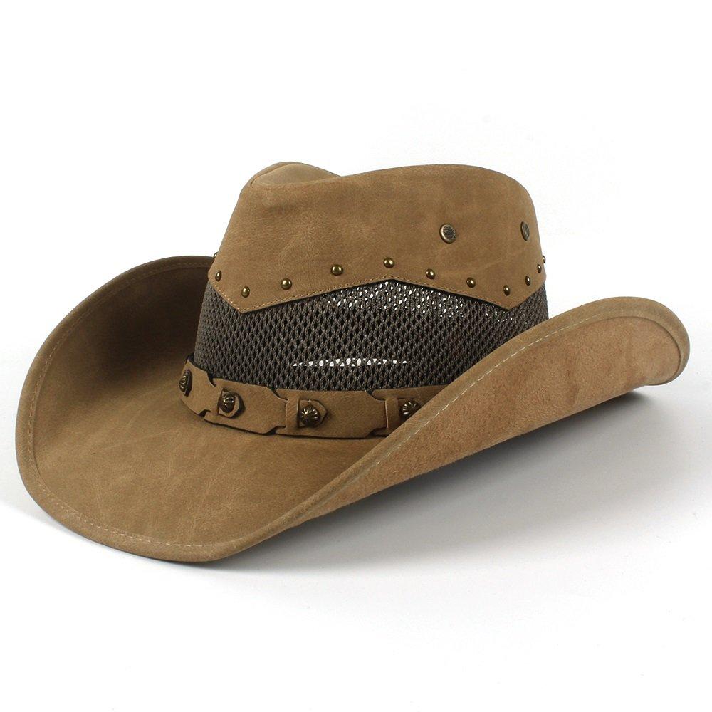 HYF Cappello da Cowboy in Pelle da Uomo Estivo con Cappelli in Maglia da Padrino papà 58-59 cm (Colore : Khkai, Dimensione : 58-59cm)