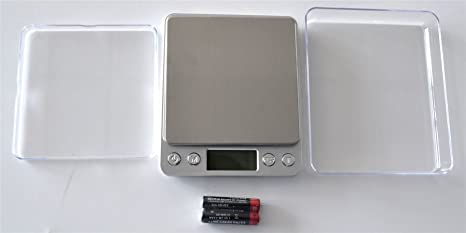 Digital Table TOP Scale Professional Tare Calibration 500G/0.01G Large Stainless Steel Back Light