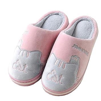 SFHK Unisexo Invierno Casa Zapatillas Dibujos Animados Gato Algodón Mantener Caliente Interior Habitación Piso Zapatos Antideslizante Parejas Zapatilla: ...