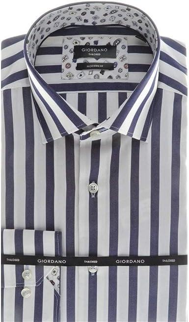 GIORDANO Camisa de algodón a medida en una franja de ...