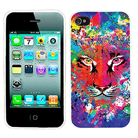 iPhone 4s Case Cute,iPhone 4 Case cool, ChiChiC full Protective Stylish Case slim durable Soft TPU Cases Cover for iPhone 4 4g 4s,colorful green blue red yellow abstract background with tiger (Iphone 4 Case Artsy)