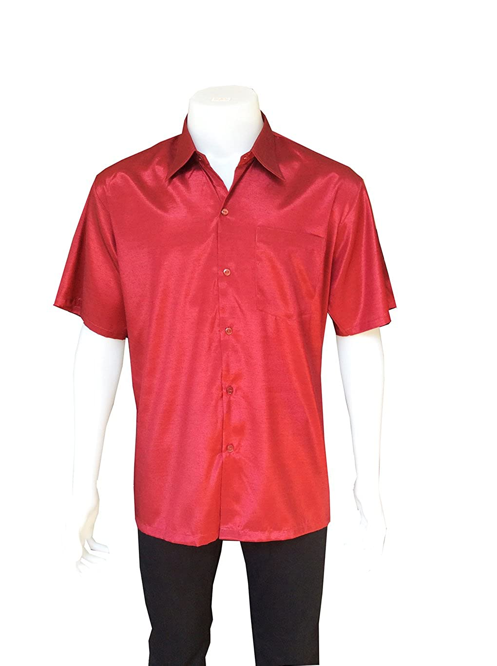 moraysiam Mens Silk Short Sleeve Casual Solid Shirts Pocket Burgundy Color