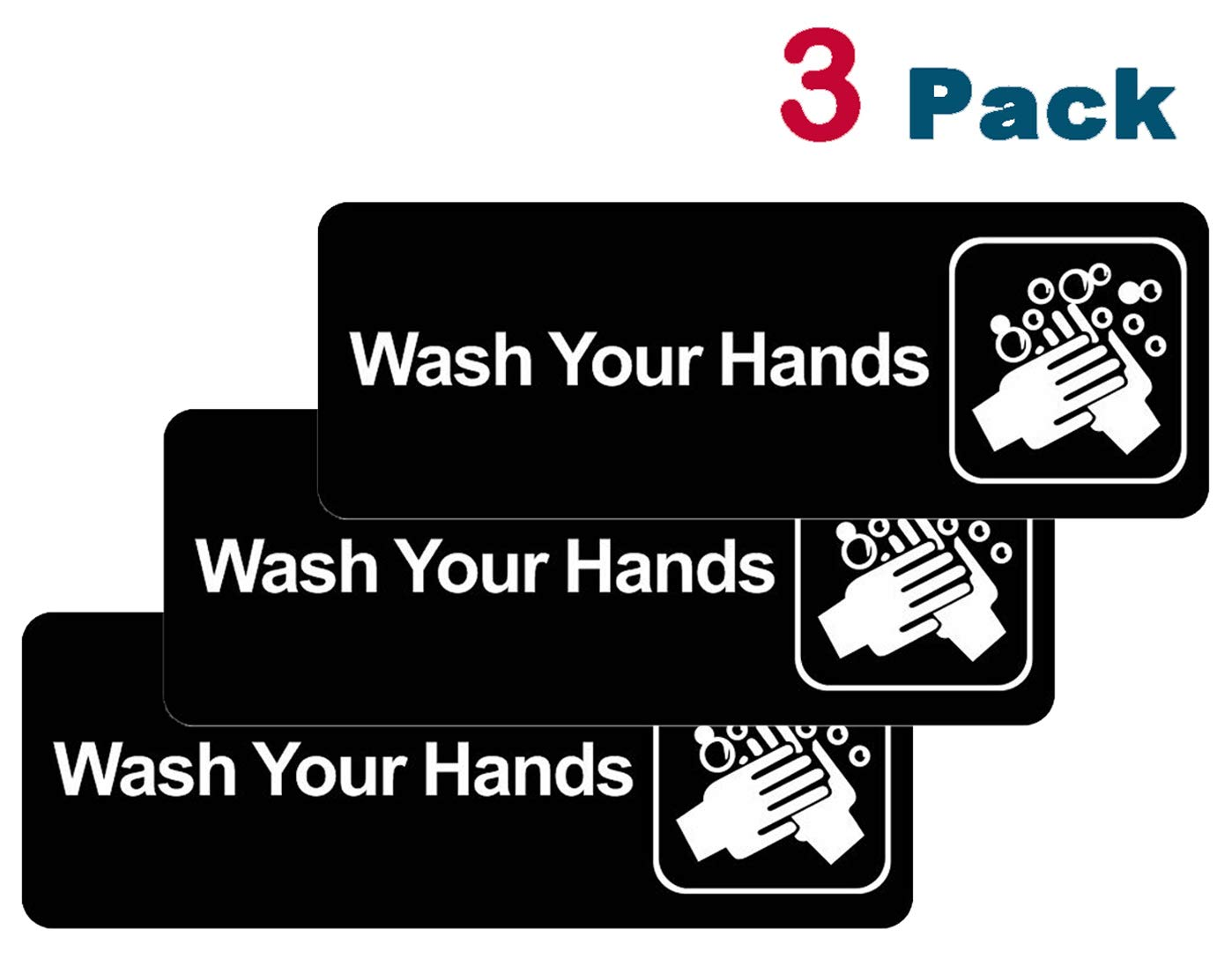 """Wash Your Hands Sign: Easy to Mount Plastic Safety Informative Sign with Symbols Great for Home Office Business (7.7""""x2.7"""",3Pack)"""
