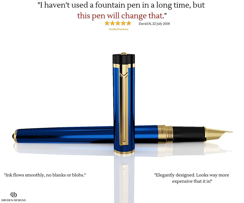 Penna regalo affari Calligrafia | NERO INTENSO Set di penne stilografiche da ufficio Collezione di penne vintage | Edizione Limitata Modern Classic Penna stilografica luxury della Dryden