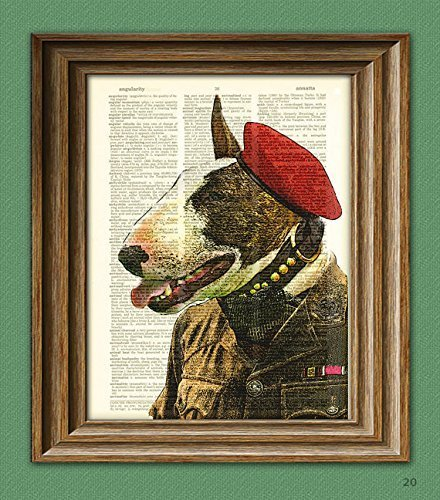 English Terrier Bull - Bull Terrier English SAS Soldier illustration beautifully upcycled dictionary page book art print