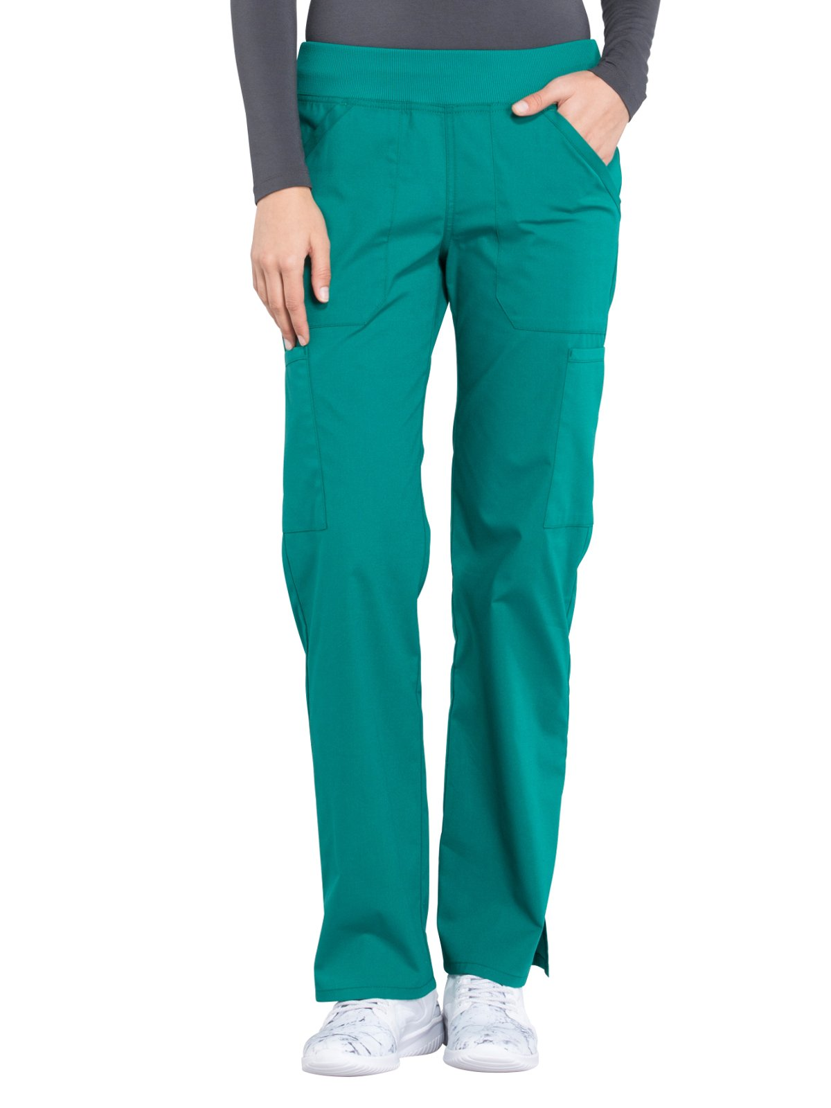 Cherokee Professionals by Workwear Women's Elastic Waistband Pull On Cargo Scrub Pant Small Tall Hunter Green