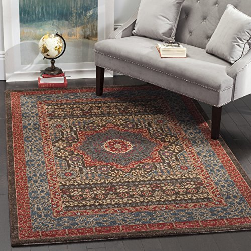 Safavieh Mahal Collection MAH620C Traditional Oriental Navy and Red Area Rug (8′ x 11′) For Sale