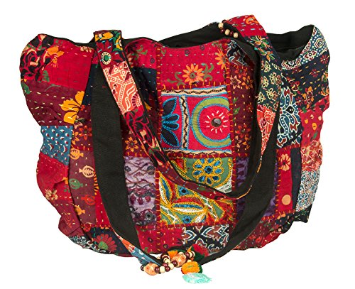 Tribe Azure Red Colorful Large Women Shoulder Bag Tote Market School Laptop Daily Casual Everyday Comfortable Boho (Fair Trade Glass)