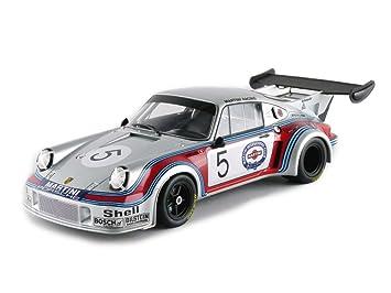 Norev - 187423 - Porsche 911 RSR Turbo 2.1 - Brand Hatch 1974 - Escala 1/18 - Plata/Rojo/Azul: Amazon.es: Juguetes y juegos
