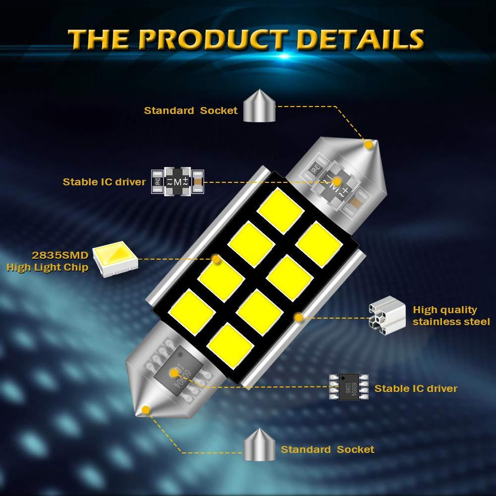 KaTur Super Bright 5630 Chipsets Aluminum CanBus Error Free 1.53 39mm DE3175 DE3021 DE3022 6428 7065 LED Festoon Car Interior Door Map Dome Lights Xenon White 12V 10-Pack