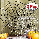 Halloween Spider Web 2Pack 5 Feet Black White Giant Stretch Spider Web Set Round Fake Spider Web Creepy Decor Outdoor Indoor Yard Haunted House Home Halloween Decoration Party Favor Durable Cobweb