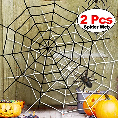Halloween Spider Web 2Pack 5 Feet Black White Giant Stretch Spider Web Set Round Fake Spider Web Creepy Decor Outdoor Indoor Yard Haunted House Home Halloween Decoration Party Favor Durable Cobweb by Xenzy