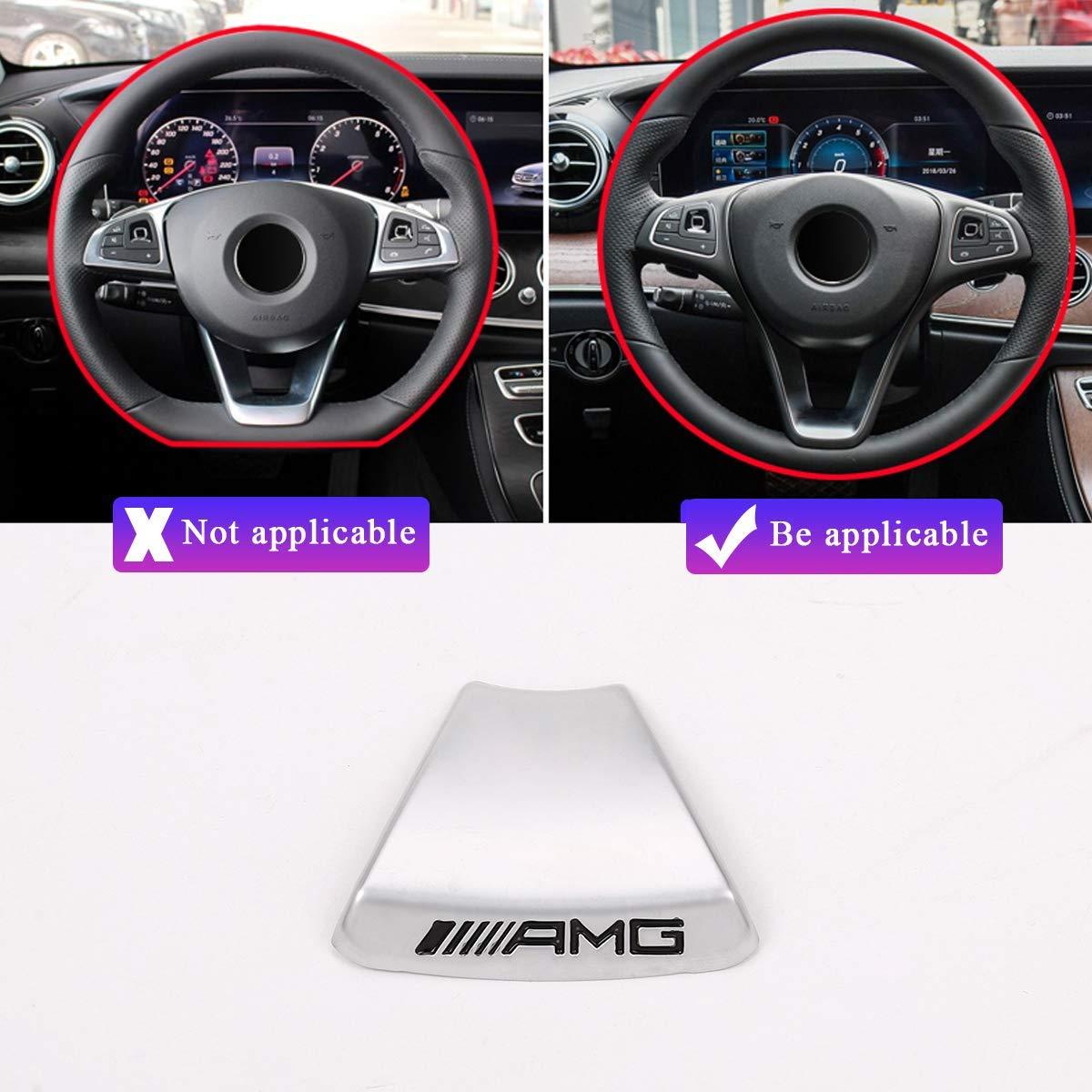 YIWANG Zinc Alloy Steering Wheel Emblem Decor Decal Sticker Badge Decoration AMG Logo For Benz A B C E Class GLA CLA GLC GLE GLS W213 W205 x253 Square sports steering wheel