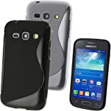 iGadgitz S Line Black Durable Crystal Gel Skin (TPU) Case Cover for Samsung Galaxy Ace 3 S7270 S7272 S7275 Android Smartphone Mobile Phone + Screen Protector