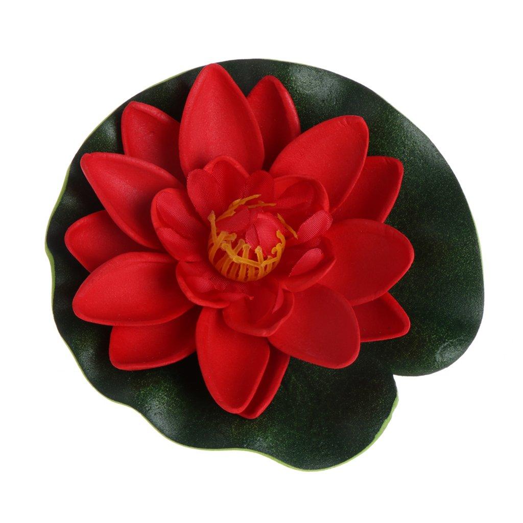 JAGENIE Fleurs Artificielles Faux Floating Lotus Nénuphar plantes Jardin Réservoir étang Décor