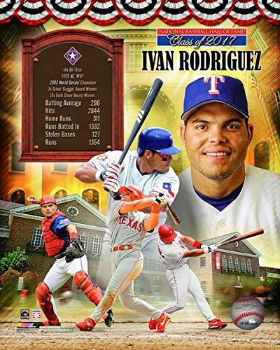 (Ivan Rodriguez Texas Rangers Hall of Fame Photo (Size: 8